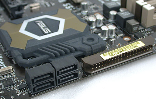The SATA ports in black are the ones from the Intel P55 Express chipset. ASUS has kept with the IDE connector with the addition of a JMicron controller.