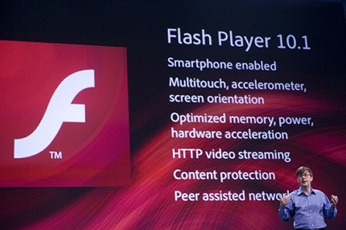 Kevin Lynch, Chief Technology Officer of Adobe, unveiling Flash Player 10.1 for smartphones, netbooks, PCs and other Net-connected devices.