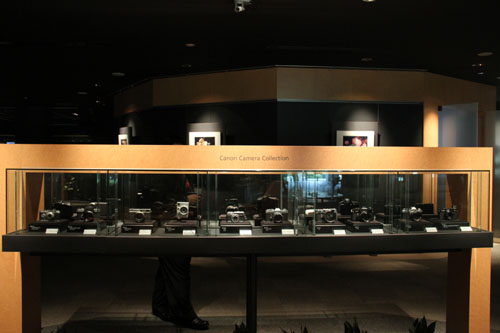 A Canon museum inside Canon HQ displays a history of Canon products.