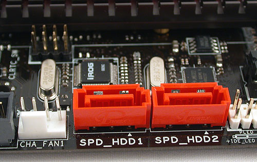 These are two additional SATA ports for hard drives, with RAID 0 and 1 support, thanks to a separate JMicron controller.
