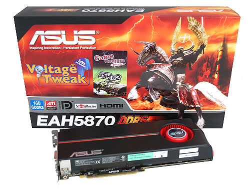 "The ASUS EAH5870 retains the ASUS' ""Death Knight"" packaging, which proudly proclaims its ""Voltage Tweak"" functionality."