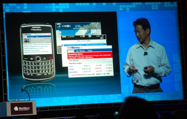 Curtis Sasaki, demos real-time information feed that includes geo-location aware services.
