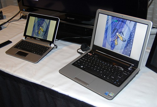 And here are is a pair of mini notebooks or netbooks from Mobinnova that are also powered by the NVIDIA Tegra. It will be interesting to pit this against current netbook platforms to see how they handle general multimedia as well as battery uptime and usability. We guess we'll find out in a couple of months.