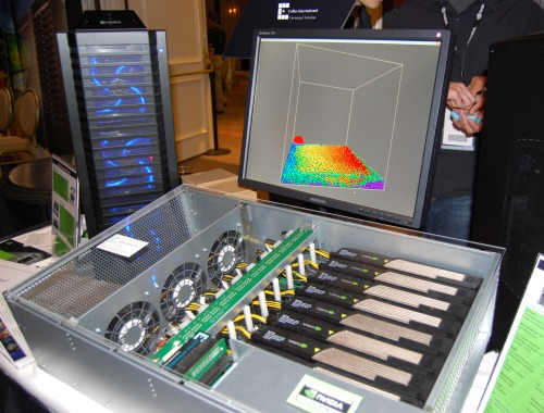 This is perhaps the world's first system outfitted with eight Tesla C1060 cards delivering a total of 8 teraFLOPS of computing power. Most others are still designed to fit only four of those Tesla cards in a system. Colfax International is the solutions provider for this personal supercomputer as well as many other variants.