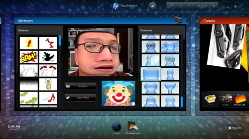 The webcam too comes with HP's standard suite of camera software, but it's actually more fun when you have a huge screen to play with. We call this shot Blockhead.
