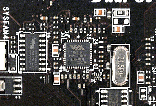 This VIA VT6315N chip supports the board's two IEEE 1394 ports, one at the rear and the other via an onboard header.