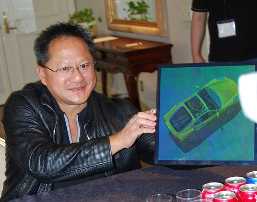 Here we caught Jen-Hsun enthusiastically showing off his liking for Ferrari cars using this hologram from Zebra Imaging. NVIDIA GPUs are used in the 3D modeling of the car before its fit for use in this hologram. Now who would have thought such realistic holograms would have been possible 10 years ago?