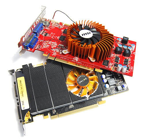 The difference between these two cards and other GeForce 9800 GT cards is that they do not required a 6-pin PCIe power connector to power up. Instead, they draw all their power directly from the motherboard.