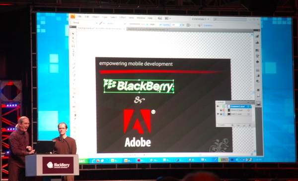 Adobe and BlackBerry demoed how intuitive it was to have a GUI builder for BlackBerry devices integrated into Creative Suite 5.