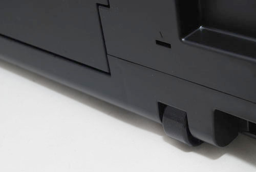 Two wheels on the lower back of the Pro9500 Mark II help you shift the 15.2kg printer around easily if you need to make room at the back for A3 printing.