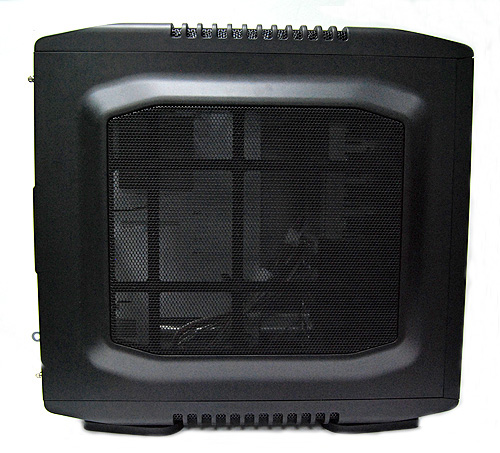The side panel is mostly grille and wire mesh as well. You can fit an additional 200mm fan, or two smaller 120mm fans.