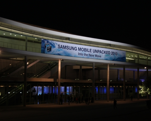 The entrance to the Samsung Unpacked event, which was held at Hall 8 of the Fira Barcelona complex, a distance away from the main Mobile World Congress