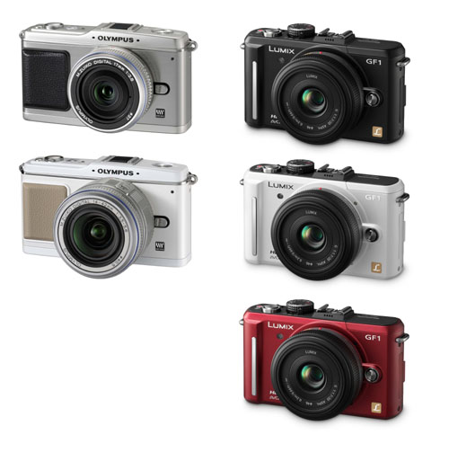 The Olympus PEN E-P1 (left) comes in silver and white, while the Panasonic Lumix GF1 (right) in black, white and red bodies (image not to scale).
