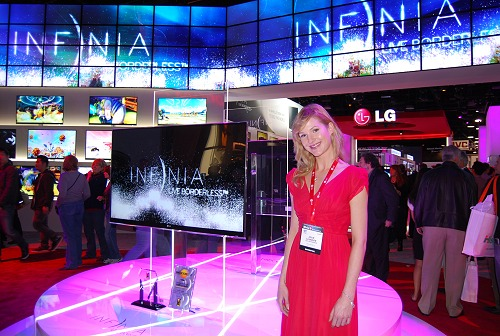 A pretty LG ambassador welcomed visitors to their impressive booth, which was almost encircled completely by LG's new Infinia TVs. Seen here is the top of the line LE9500. To find out more, on its features, check out our previous article in the related links section below.