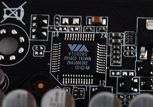 The Audio IC on this board is a pretty new VIA VT1828S audio CODEC and it's a pretty high-end one supporting up to 10 channels of audio.