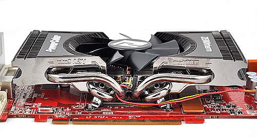 Here's a closer look at the cooler. Note the four heat pipes which help dissipate heat to all areas of the heatsink.