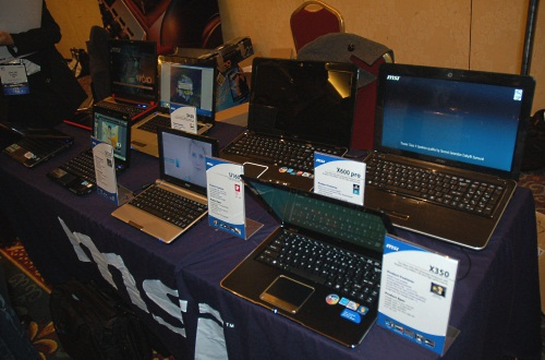 We also saw MSI hawking its notebooks and nettops, with a new netbook, the Wind U160, among them. Pinetrail netbook of course.