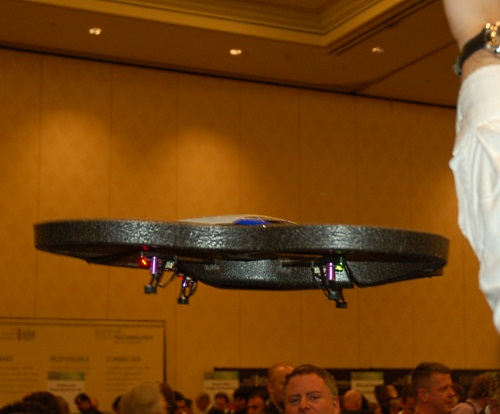 Injecting some excitement at the event, we spotted the Parrot AR.drone, a robot drone that can be piloted by the user remotely with an iPhone or iPod Touch. The developers also claim that it has the potential to be used in Augmented Reality games, due to the mounted cameras.