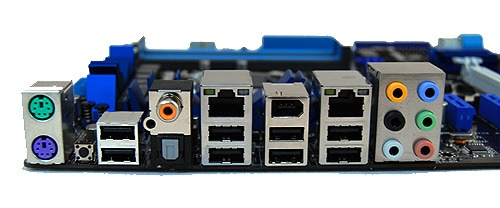 The rear I/O panel is quite heavily decked out with eight USB ports, dual Gigabit LAN ports controlled by Realtek chips, FireWire, analog and digital audio connectors and even PS/2 ports.