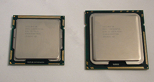 The Lynnfield processor here is smaller due to the packaging as the die size is the same as Bloomfield. Here you can see the Core i7-870 on the left, compared to a Bloomfield Core i7.