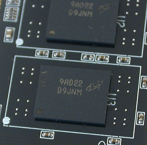 These memory chips in OCZ's triple-channel memory modules for Intel's Core i7 are in fact from Micron (D9JNM)