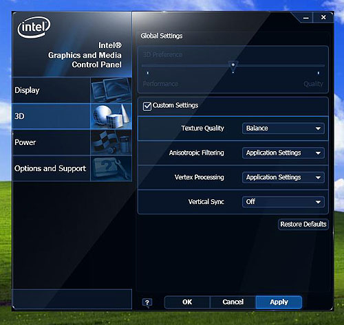 A newer, snazzy driver control panel from Intel. It's not only for the new Core i5-661. You can also download and install it as part of the latest Intel drivers for Intel's X4500 series.