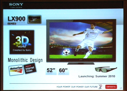 What's the point of getting a tiny 3D screen, you say? We bet Sony agrees with you. The LX900 will arrive in sizes no smaller than 52 and 60 inch. Thanks to its Edge LED backlights, you can expect the LX900 to be a relatively skinny showpiece.