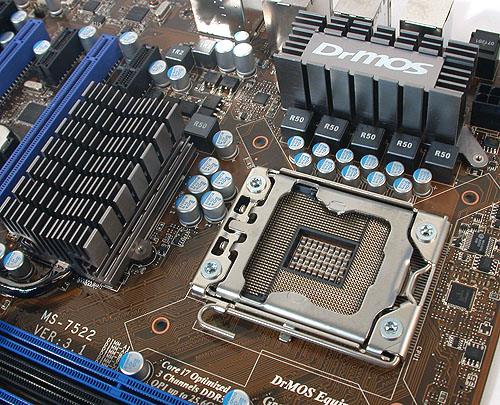 A five-phase power design for the CPU on this MSI motherboard testifies to its more modest, mainstream goal. The passive heatsinks here are also two distinct units, unlike some designs which link them via heat pipes.