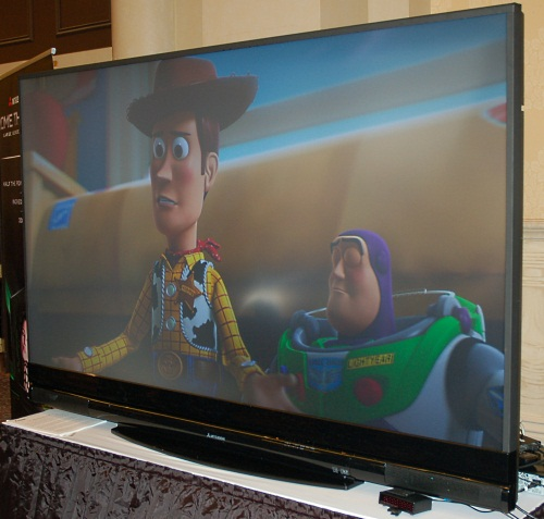 Everyone's predicting that 3D TVs will be the big thing this year, what with Blu-ray 3D standards official now. We're not inclined to believe in the hype, though the vendors are definitely pushing it very heavily, like Mitsubishi, who has a 82-inch 3D panel available.