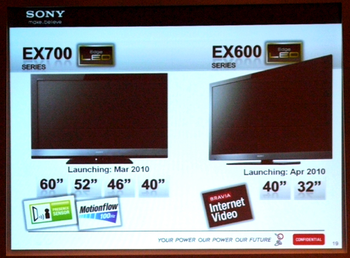 Arrival dates for the EX700 and EX600 as shown. Both series pack a DVB-T tuner and four HDMI ports. However, please keep the specs sheet in mind, for only the EX700 model comes with the MotionFlow 100Hz perk.