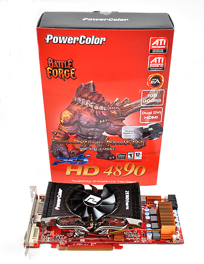 The PowerColor PCS+ HD 4890 Battle Forge Edition comes in an attractive red box that has a horned demon on the cover.
