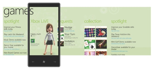 Games hub - enjoying games on the go with Xbox Live integration.