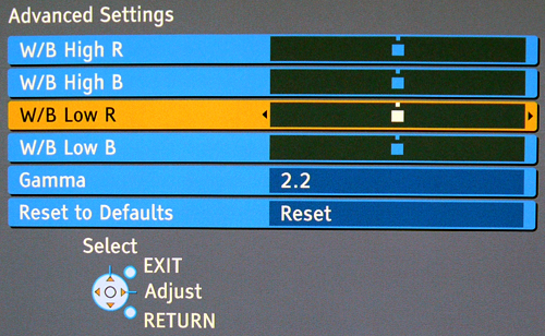 Other than the standard display adjustments, you can also tweak the Z1's PC input should you wade deeper into the TV's Advanced Settings, such as the white balance for specific red and blue areas.