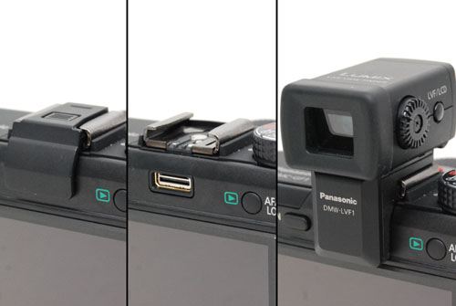 The GF1's hot shoe with its default cover (left), uncovered with the connector exposed (middle) and with the optional live view finder attached (right).