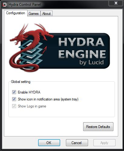 The Hydra Control panel is not exactly big on fine control, with just these options.