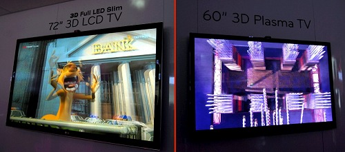 Here's a showcase of LG's largest 3D ready TVs for the LED-backlit LCD segment and Plasma. Both are designed for active shutter technology based glasses, which offer better picture quality at the moment.