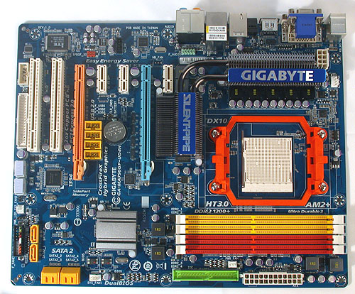 As usual, Gigabyte's bright and colorful motherboard designs gives it a cheerful demeanor. The board layout looks quite standard, with some quibbles evident.