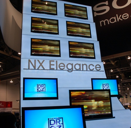As the Elegance here suggests, the NX series has Sony's new Monolithic Design along with Edge LED backlight, Motionflow 240Hz, integrated Wi-Fi and internet video and widget functionality. It's targeted at those who prefer their TVs without 3D. The 60-inch 60NX800 is available in spring for around US$4600.