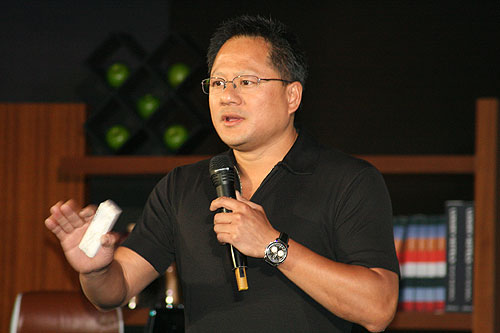 Jen-Hsun Huang, CEO of NVIDIA, presenting his keynote address.