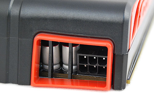 The Radeon HD 5770 requires a single 6-pin PCIe power connector. It is hidden in the vents under the cooler casing.