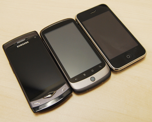 A side-by-side comparison of the Samsung Wave (left), Google Nexus One (center) and Apple iPhone 3GS (right).