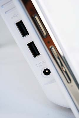 The left side of the X50 plays host to two USB2.0 ports, the power jack and brightness, lights, and volume controls.