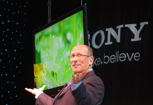 The new monolithic look of Sony's refreshed BRAVIA TVs or 'Monolithic Design' as Sony terms it, was shown off by Stan Glasgow, Sony Electronics' President and COO.