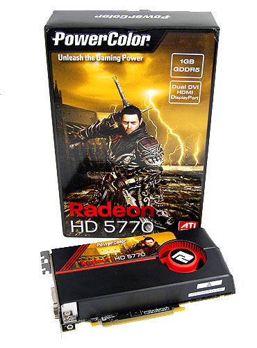 The PowerColor Radeon HD 5770 comes in a nice compact package, and the cover features their new warrior mascot.