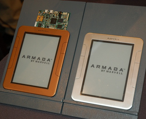 Marvell's Armada is a new family of ARM processors designed for smartphones released a couple of months ago. It can be used in a broad spectrum of devices, from e-book readers like these to even HD media set-top boxes. Snapdragon and Tegra 2, watch out!