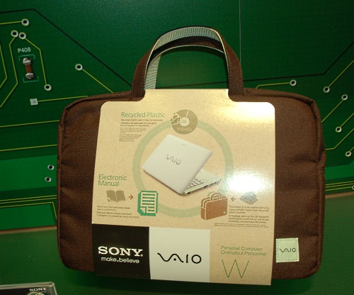 Even the notebook bag for the Sony W mini notebook is made from recyclable materials.