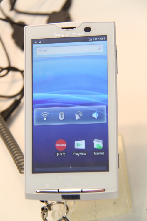Of course, DoCoMo recently launched the Sony Ericsson Xperia X10 version known as the Smartphone Xperia in Japan. It's based on the open Android system with a 1GHz processor and 4.0-inch touchscreen. The Smartphone Xperia is compatible with FOMA High-Speed, DoCoMo's HSUPA/HSDPA data-comm service for 2.0Mbps uplinks and 7.2Mbps downlinks. It also has POBox Touch 1.0, Sony Ericsson's unique predictive text-input system for Japanese and English.