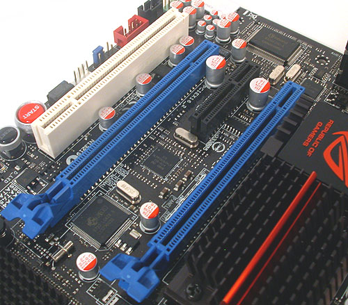 Another concession to the lack of space on a microATX board is the design of the PCIe x16 slots on the Gene. These slots have latches that make the add-on cards easy to remove, unlike those that require one to press a button or push a lever, which may be difficult in a confined area.