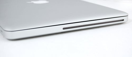 The right side of the MacBook plays host to a slot loaded SuperDrive.