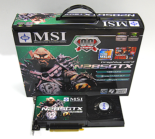 The MSI N285GTX-T2D1G-OC Super comes in the same MSI packaging that is used for their high-end cards. The box has a convenient handle for you to carry, which is a pretty nice touch.